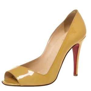 حذاء كعب عالي كريستيان لوبوتان مقدمة مفتوحة جلد لامع أصفر مقاس 39