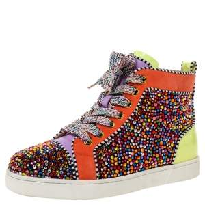 Christian Louboutin Multicolor Crystal Embellished Suede And Patent Leather Louis High Top Sneakers Size 35