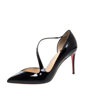 Christian Louboutin Black Patent Leather Jumping Cross Strap Pumps Size 38.5