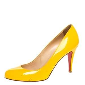 حذاء كعب عالي كريستيان لوبوتان سيمبل جلد أصفر لامع مقاس 39.5