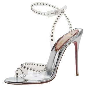 Christian Louboutin PVC and Leather Icone A Clous Ankle Strap Sandals Size 38