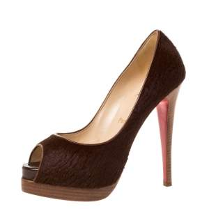 Christian Louboutin Brown Calf Hair Lady Peep Toe Platform Pumps Size 38