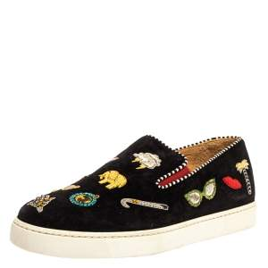 Christian Louboutin Black Embellished Suede Pik N Luck Slip-on Sneakers Size 38.5