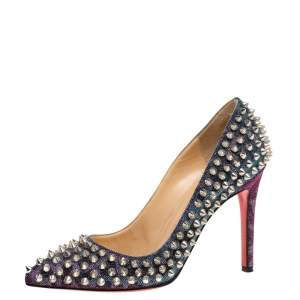 Christian Louboutin Multicolor Shimmery Fabric Pigalle Spikes Pumps Size 36
