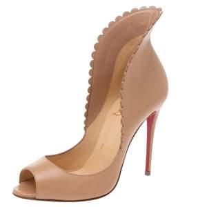 Christian Louboutin Beige Leather Pijonina Peep Toe Pumps Size 35.5