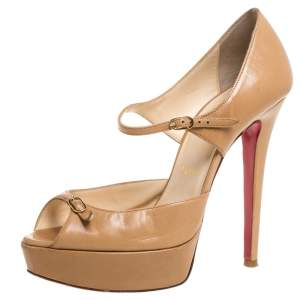 Christian Louboutin Beige Leather Peep Toe Ankle Strap Pumps Size 36.5
