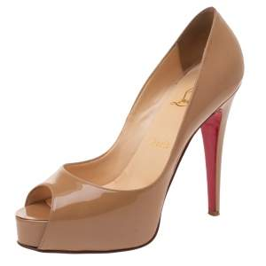 Christian Louboutin Beige Patent Leather New Very Prive Peep Toe Platform Pumps Size 38