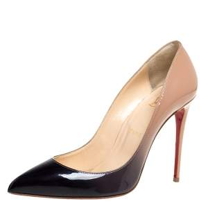 Christian Louboutin Beige/Black Patent Leather So Kate Degrade Pumps Size 38