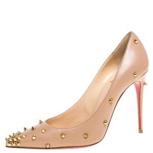 Christian Louboutin Beige Leather Degraspike Pointed Toe Pumps Size 38