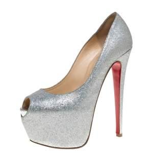 Christian Louboutin Silver Glitter Highness Platform Peep Toe Pumps Size 38