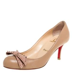 Christian Louboutin Beige Leather Ballerina Spike Bow Pumps Size 35.5