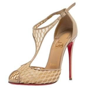 Christian Louboutin Beige Mesh And Leather Salonu Peep Toe Sandals Size 36