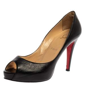 Christian Louboutin Black Leather Very Prive Peep Toe Platform Pumps Size 39