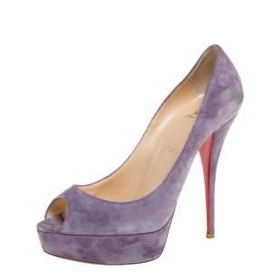 Christian Louboutin Violet Suede Lady Peep Toe Platform Pumps Size 38.5