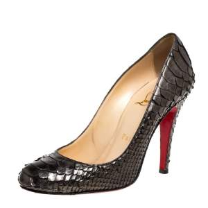 Christian Louboutin Metallic Olive Green Python Leather Fifi Pumps Size 35