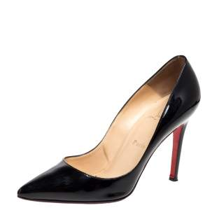 Christian Louboutin Black Patent Leather Pigalle Pointed Toe Pumps Size 38.5