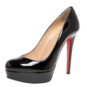 Christian Louboutin Black Patent Leather Bianca Platform Pumps Size 39.5
