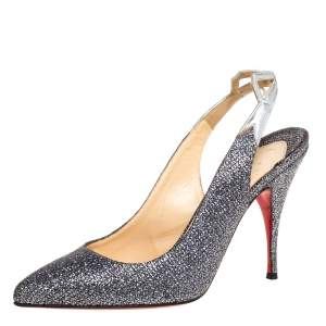 Christian Louboutin Metallic Grey Coarse Glitter Back2 Slingback Sandals Size 38.5