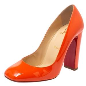 Christian Louboutin Orange Patent Leather Square Toe Pumps Size 38