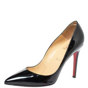 Christian Louboutin Black Patent Leather Pigalle Pointed Toe Pumps Size 40