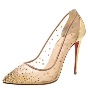 Christian Louboutin Gold Mesh And Leather Trim Follies Strass Pointed Toe Pumps Size 37.5