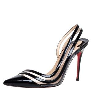 Christian Louboutin Black Patent Leather & PVC Paralili Slingback Pumps Size 37