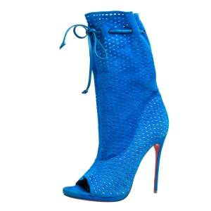 Christian Louboutin Light Blue Perforated Suede Jennifer Wrap Boots Size 41