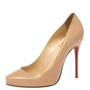 Christian Louboutin Beige Leather Simple Pumps Size 37