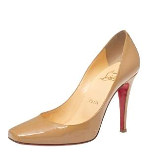 Christian Louboutin Beige Patent Leather Particule Square Toe Pumps Size 37