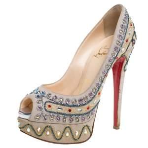 Christian Louboutin Beige Suede Crystal Embellished  Peep Toe Platform Pumps Size 36