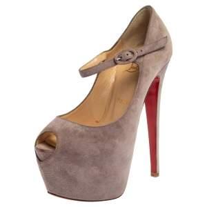 Christian Louboutin Purple Suede Peep Toe Ankle Strap Platform Pumps Size 36