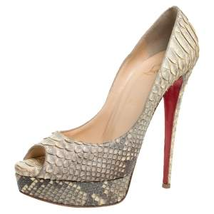 Christian Louboutin Grey/Beige Python Leather Altadama Peep Toe Platform Pumps Size 41