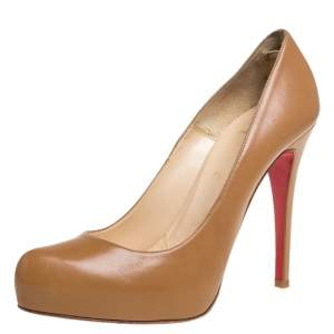 Christian Louboutin Beige Leather Platform Pumps Size 39