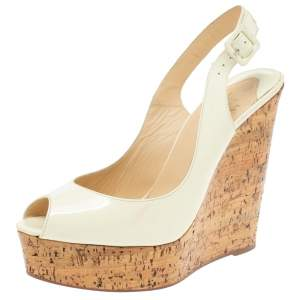 Christian Louboutin White Patent Leather Une Plume Cork Wedge Platform Peep Toe Slingback Sandals Size 39.5