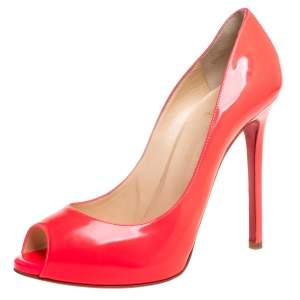 Christian Louboutin Pink Patent Leather Very Prive Peep Toe Pumps Size 39.5