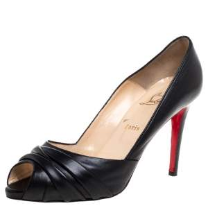 Christian Louboutin Black Leather Clownita Peep Toe Pumps Size 40.5