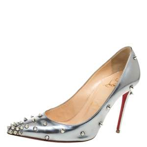 Christian Louboutin Metallic Mirror Finish Leather Degraspike Pointed Toe Pumps Size 35