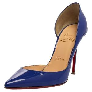 Christian Louboutin Blue Patent Leather Iriza D'orsay Pointed Toe Pumps Size 35.5
