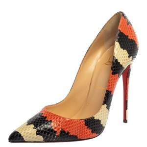 Christian Louboutin Tri Color Python Leather So Kate Pointed Toe Pumps Size 39.5