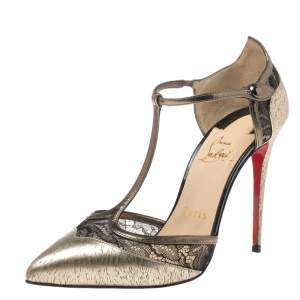 Christian Louboutin Gold Leather And Lace Mrs Early T-Strap Sandals Size 37