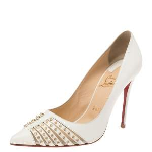 Christian Louboutin White Leather Bareta Spike Pointed Toe Pumps Size 38