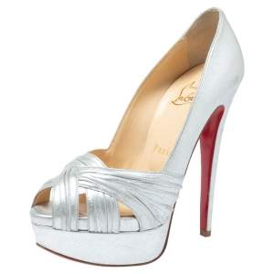 Christian Louboutin Silver Leather Criss Cross Peep Toe Platform Pumps Size 35.5