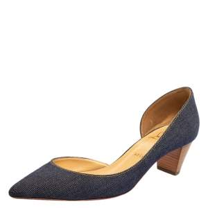 Christian Louboutin Blue Denim Karera 45 Pumps Size 39