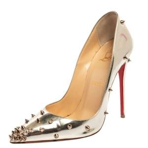 Christian Louboutin Metallic Silver Leather Degraspike Pumps Size 38.5