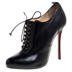 Christian Louboutin Black Leather Lace Up Booties 40.5