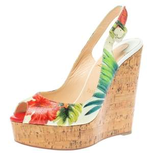 Christian Louboutin Multicolor Floral Print Patent Leather Une Plume Cork Slingback Sandals Size 37