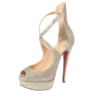 Christian Louboutin Gold Glittered Marlenalta Platform Sandals Size 37
