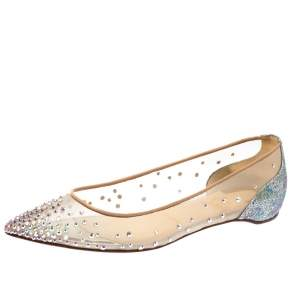 Christian Louboutin Beige Mesh And Lame Fabric Follies Strass Pointed Toe Ballet Flats Size 36.5