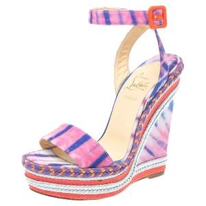 Christian Louboutin Multicolor Tie-Dye Fabric Duplice Woven Trim Wedge Ankle Strap Sandals Size 36