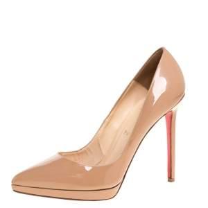حذاء كعب عالي كريستيان لوبوتان بيغال بلاتو جلد لامع بيج مقاس 39.5